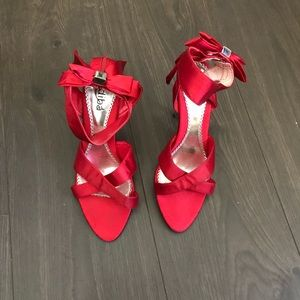 LADIES DRESS EVENING SANDALS RED SATIN WEDDING 8.5